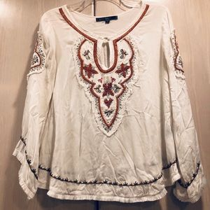 Love Stitch white blouse embroidered tunic size S